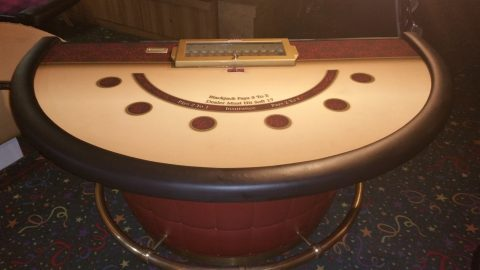 Casino Blackjack Table Complete Tan Designer 6 Spot Lay-Out