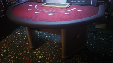Casino Blackjack Table Custom Lay-Out Burgundy 6 Spot