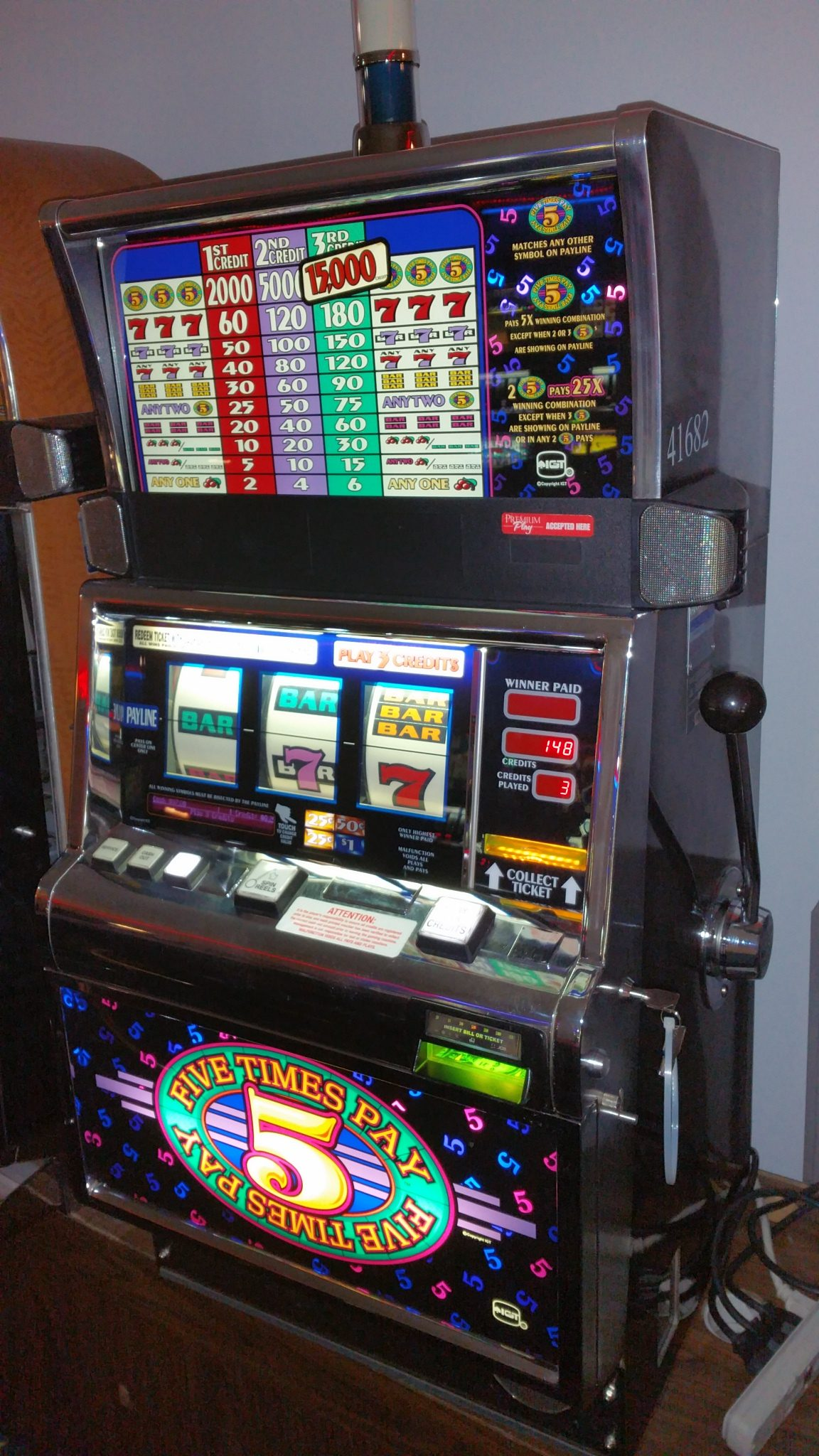 IGT S2000 Five Times Pay Slot Machine Flat Top