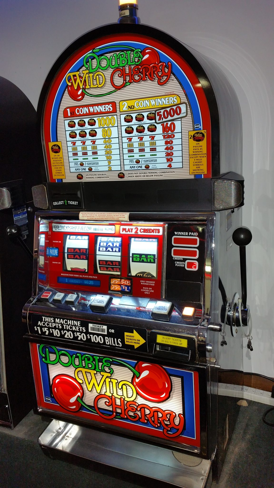 IGT S2000 Double Wild Cherry 2 Coin Multi-denominational Slot Machine