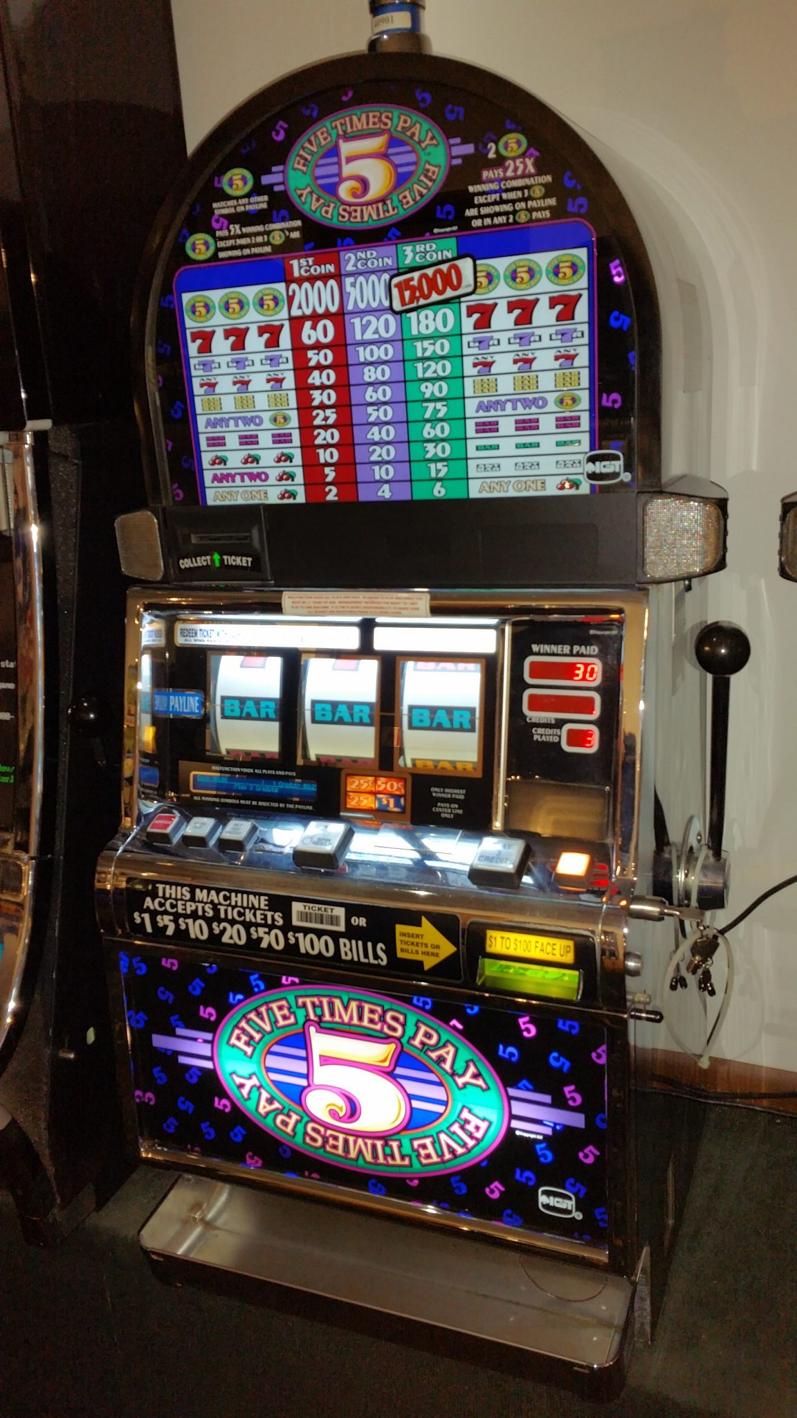 IGT S2000 Five Times Pay Multi-denominational Slot Machine