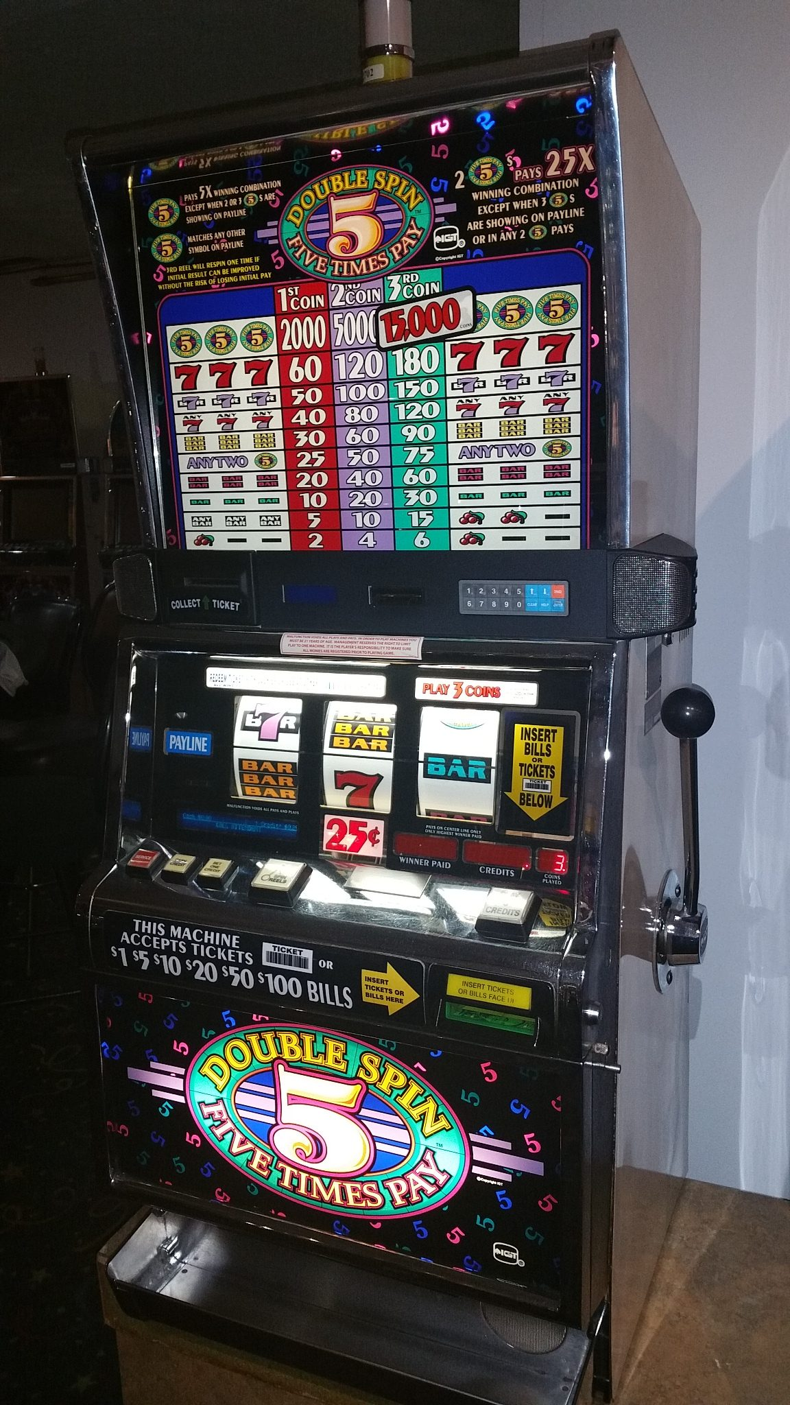 IGT S2000 Five Times Pay Double Spin Slot Machine