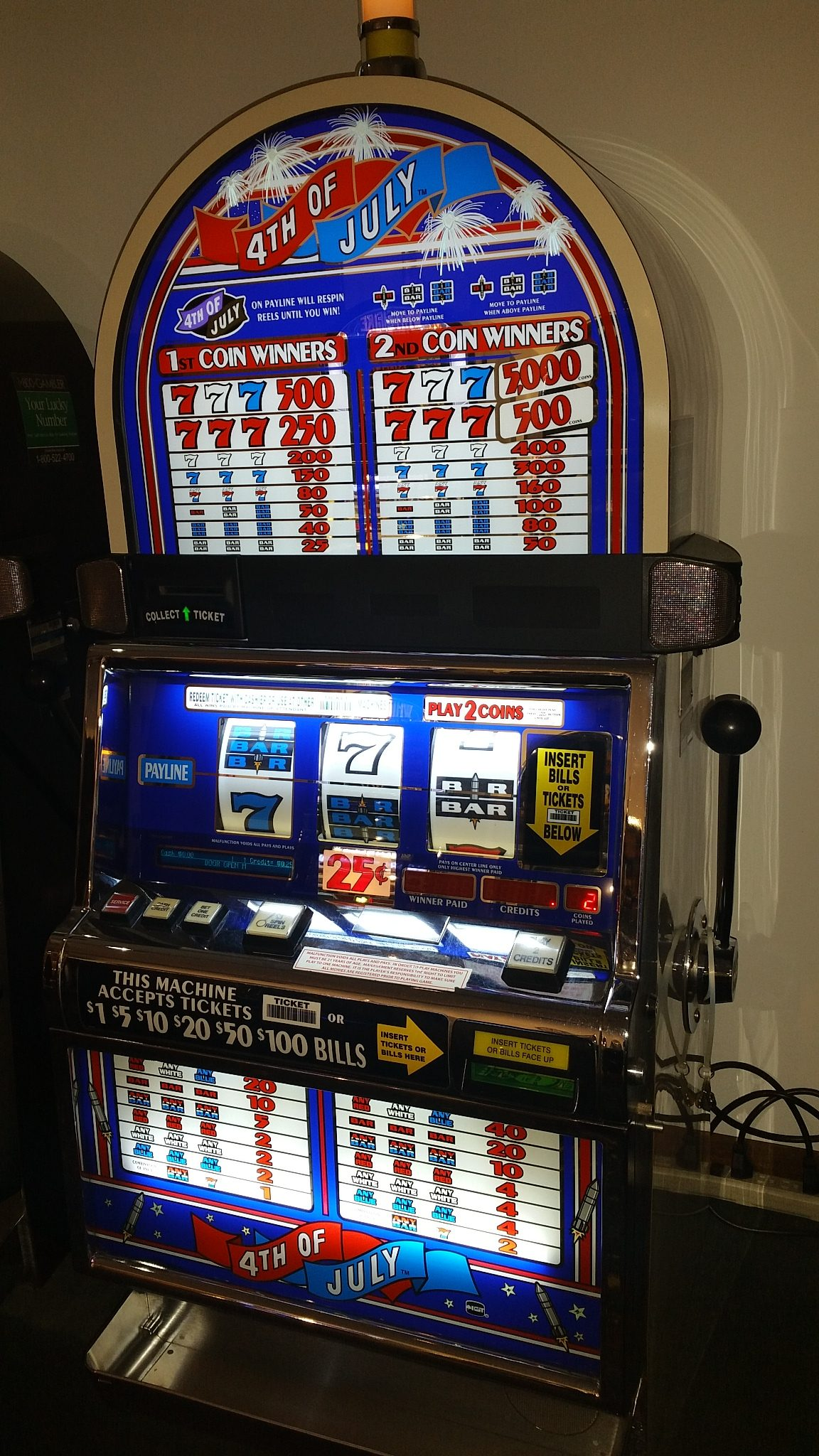 IGT S2000 RED WHITE & Blue 4th of July Bonus Slot Machine