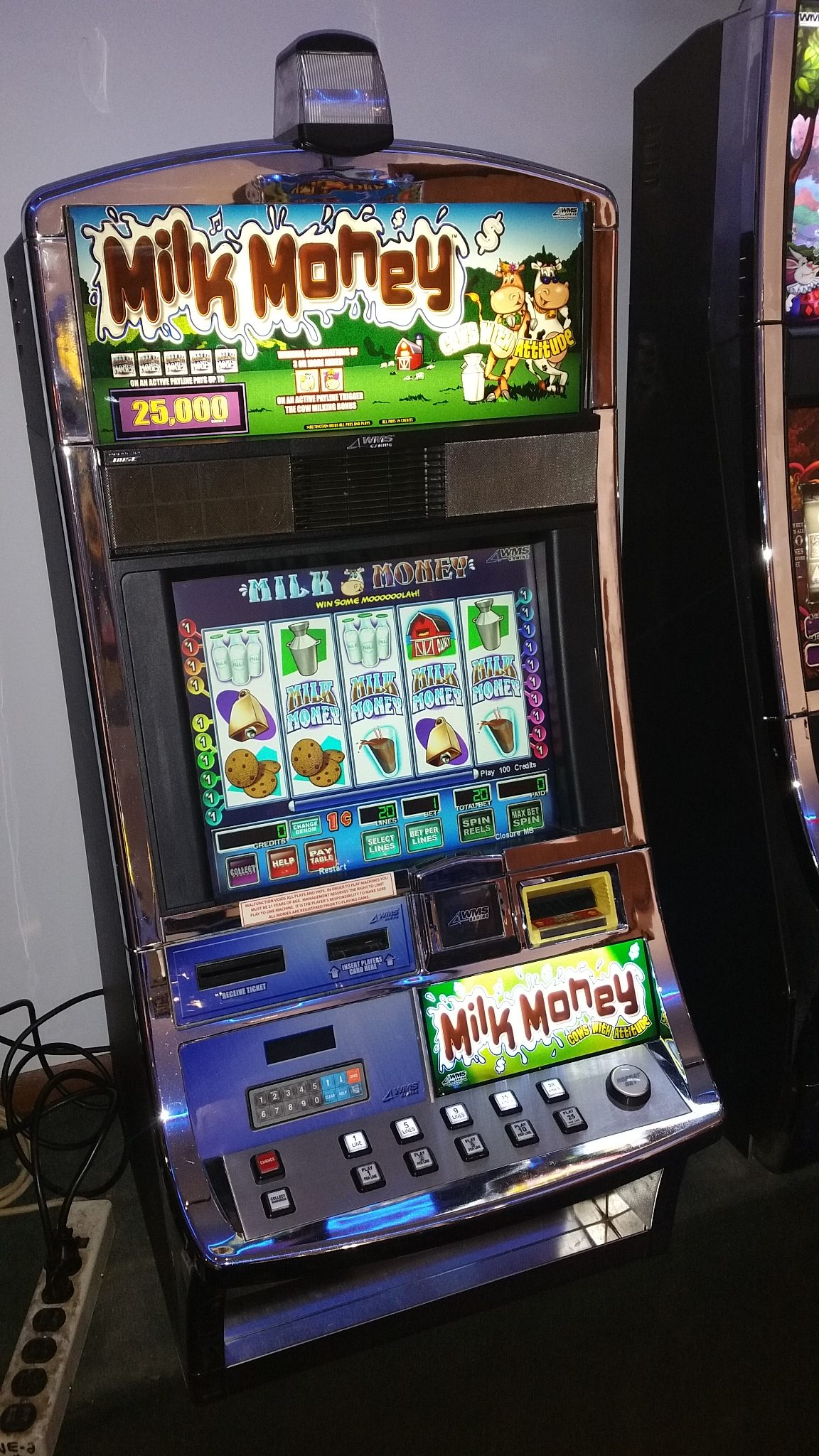 Wms Blue Bird I Milk Money Video Bonus Slot Machine Slot