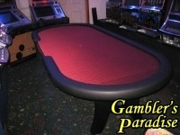 Hold-Em Table 9ft Burgandy Speed Cloth 002