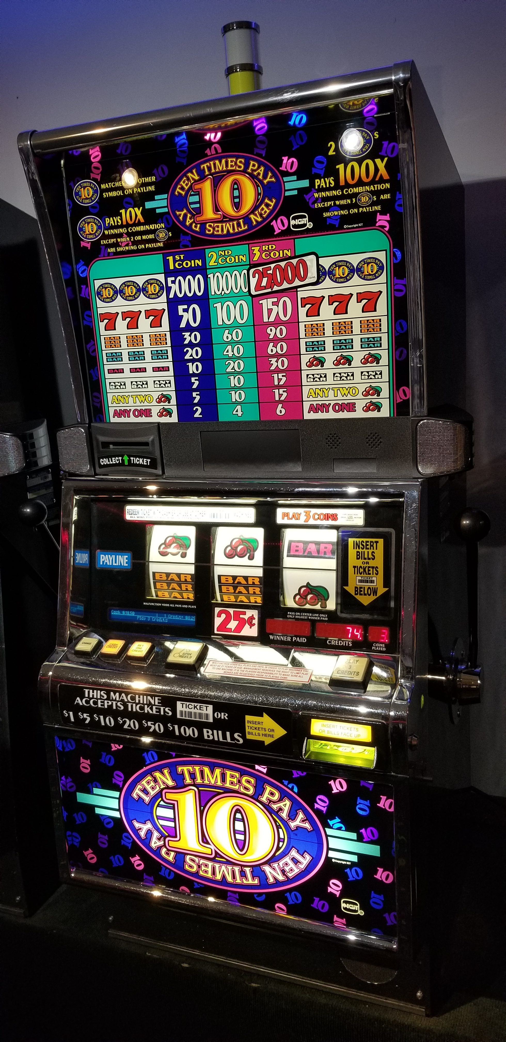 Igt S2000 Ten Times Pay 3 Coin Slot Machine Slot