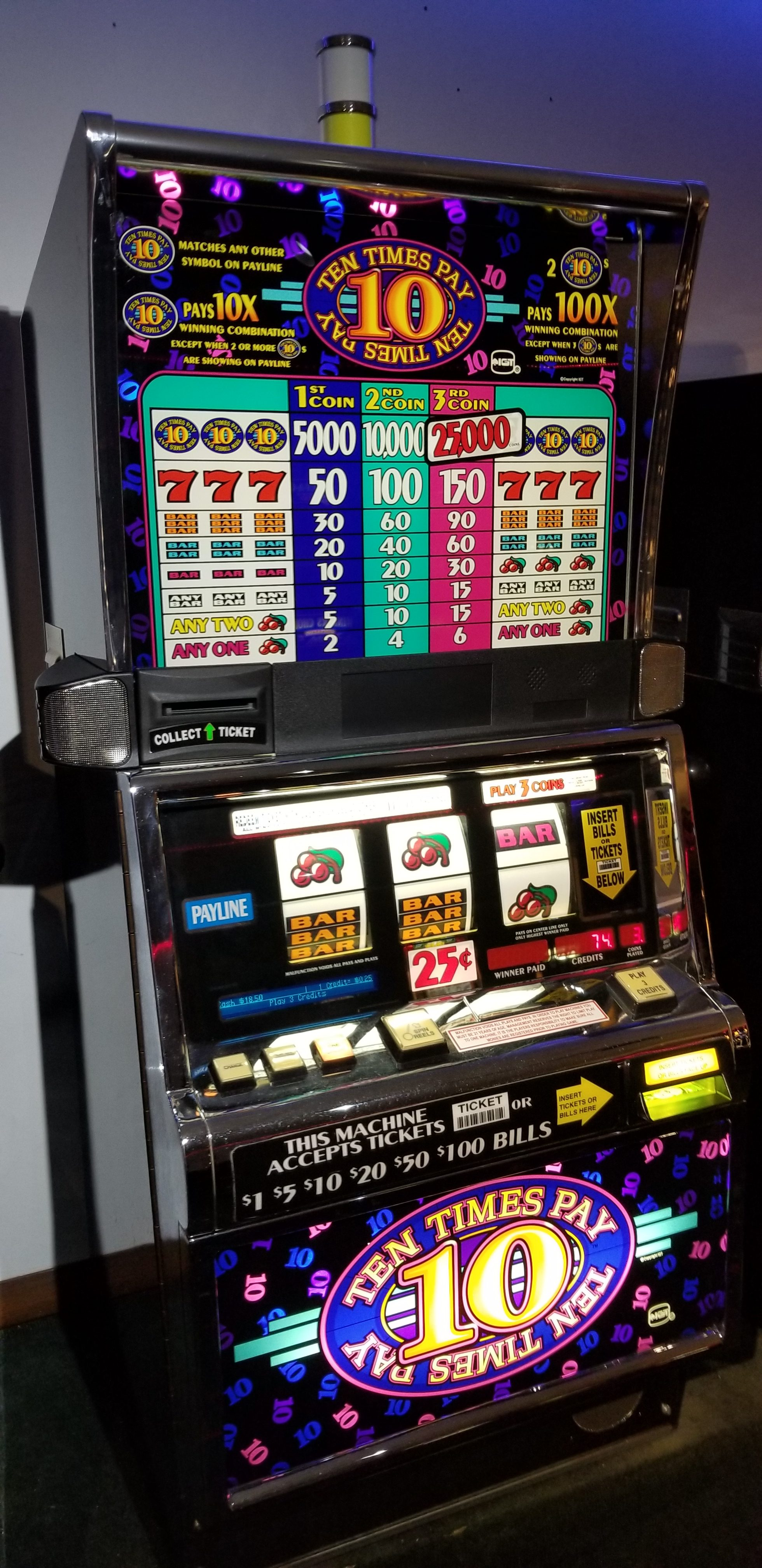 IGT S2000 Ten Times Pay 3 Coin Slot Machine - Slot